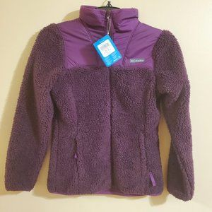 COLUMBIA Purple Teddy fur jacket size XS